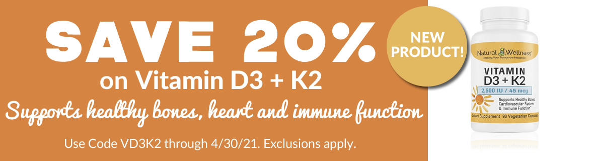 Save 20% on Vitamin D3 + K2
