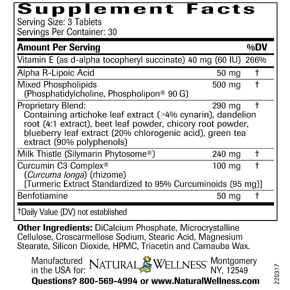 Clinical LiverSupport - Supplement Facts Large
