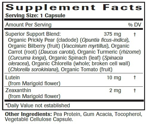 Advanced Eye & Vision Support Formula - Supplement Facts Large