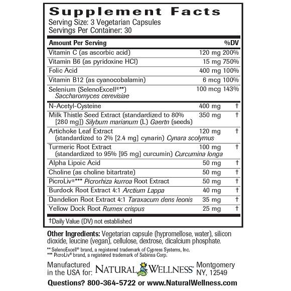 Liver Support & Detox - Supplement Facts