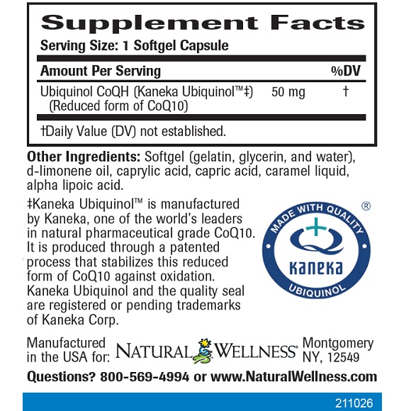 Ubiquinol CoQ10 - Supplement Facts Large
