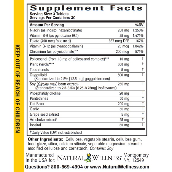 Cholesterol Support - Supplement Facts Large