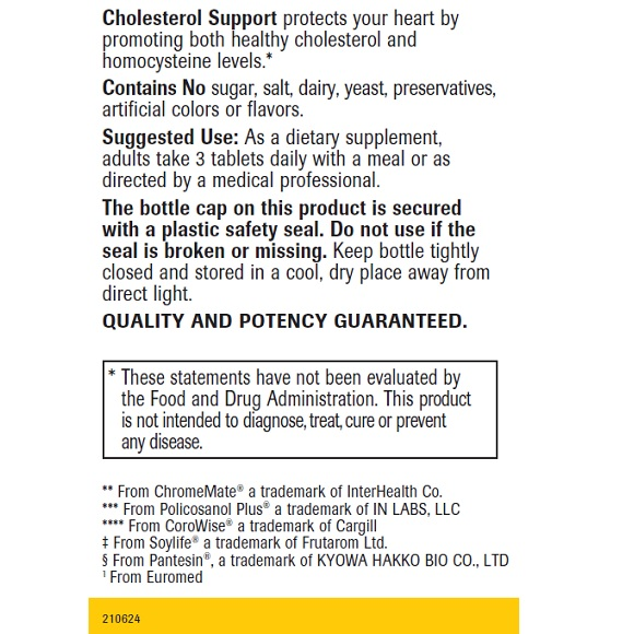 Cholesterol Support - Label Large