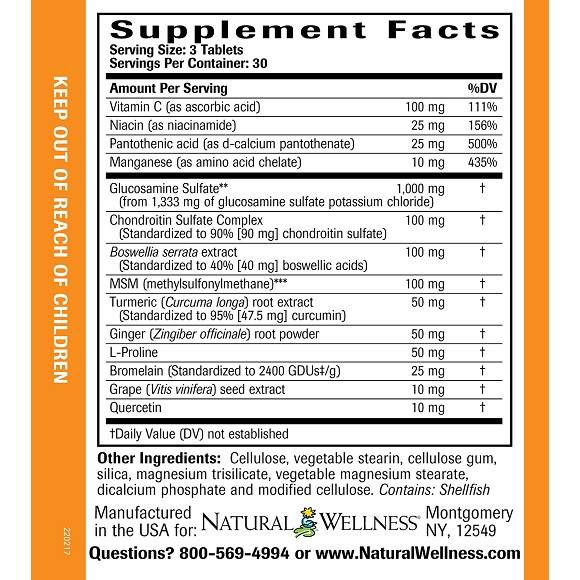Joint Support - Supplement Facts Large