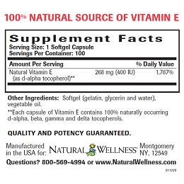 Natural Vitamin E -Supplement Facts