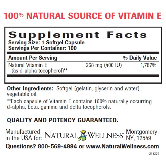 Natural Vitamin E - Supplement Facts Large