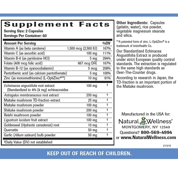 Immune System Support - Supplement Facts Large
