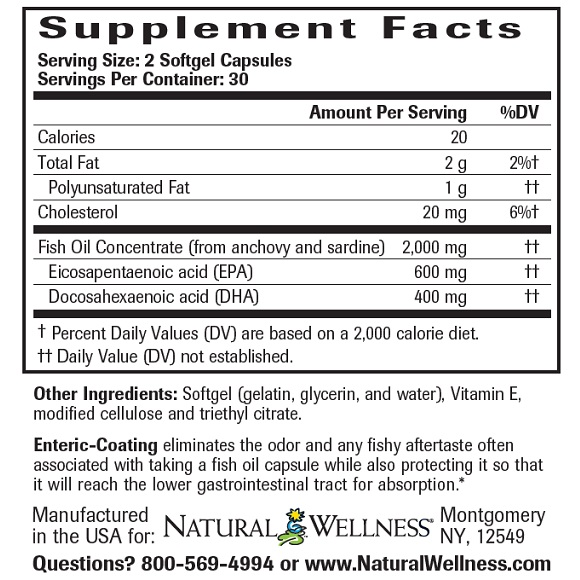 Super Omega-3 Fish Oil - Label