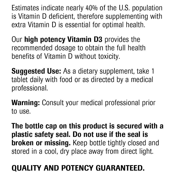 Vitamin D3 - Label Large