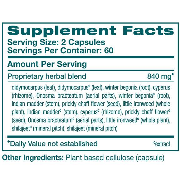 UriCare - Supplement Facts Large