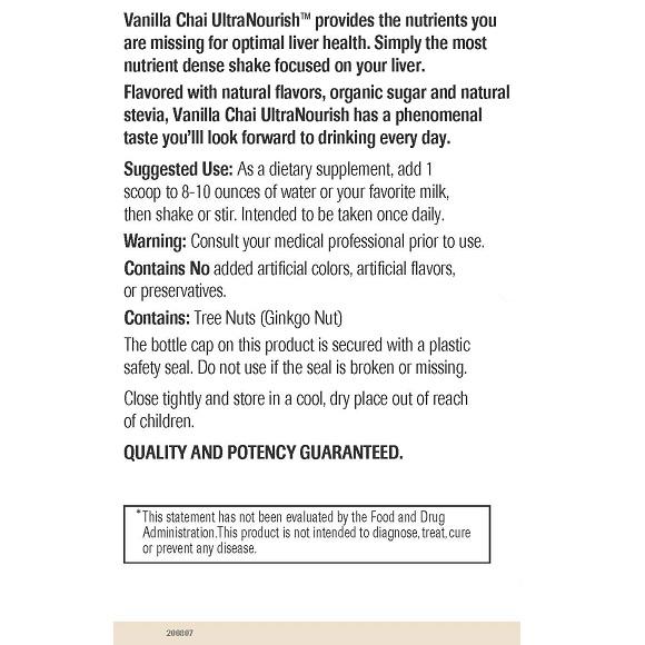 Vanilla Chai UltraNourish - Label