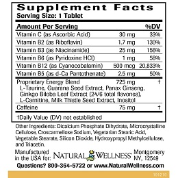 Energy Booster - Supplement Facts