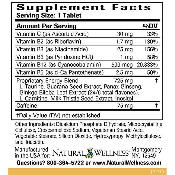 Energy Booster - Supplement Facts Large