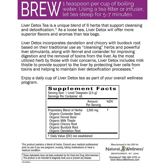 Liver Detox Tea - Supplement Facts Large